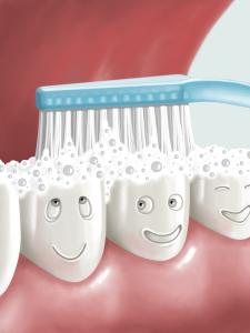teeth being brushed